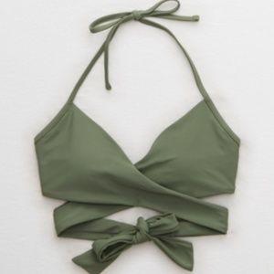 Aerie halter wrap bikini top NWT